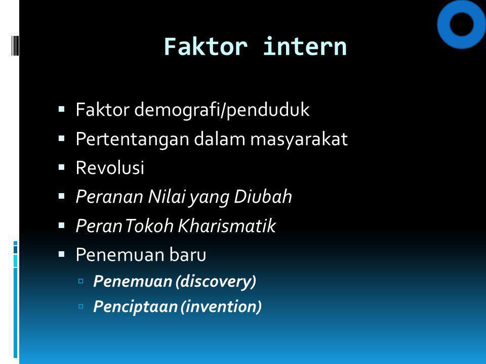 Faktor intern Faktor demografi/penduduk Pertentangan dalam masyarakat