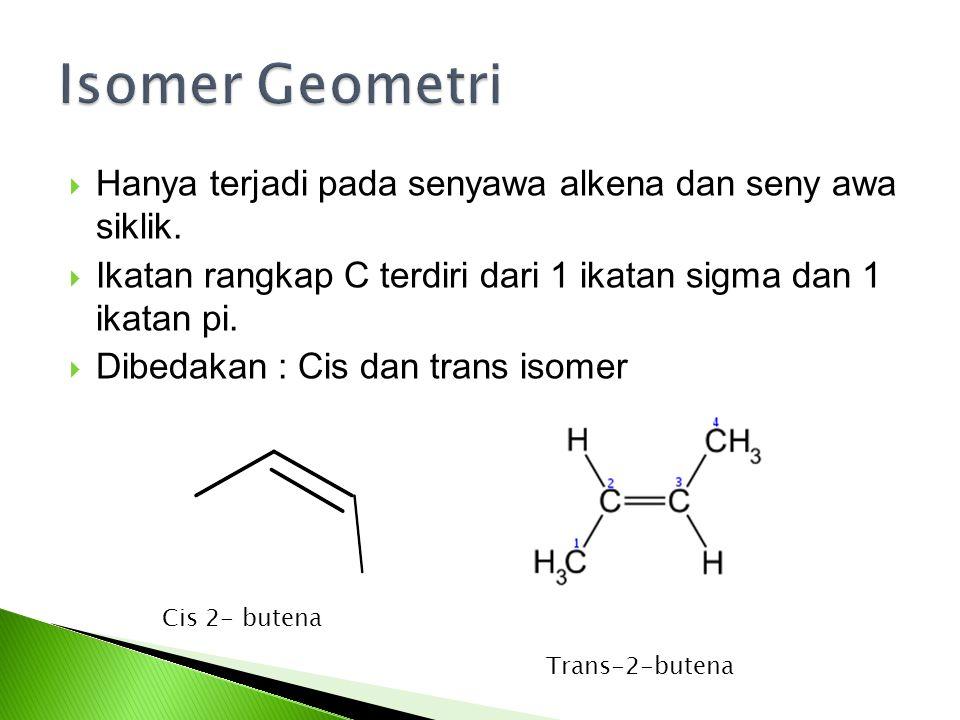 Isomer Geometri Hanya terjadi pada senyawa alkena dan seny awa siklik.