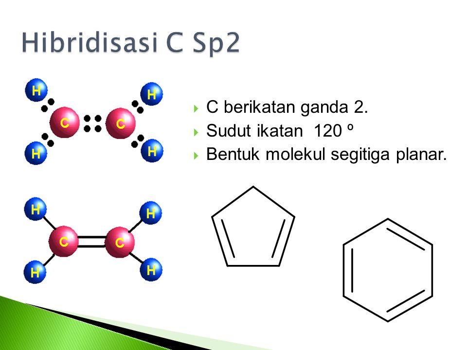 Hibridisasi C Sp2 C berikatan ganda 2. Sudut ikatan 120 º