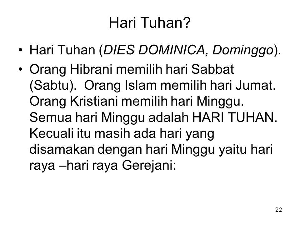 Hari Tuhan Hari Tuhan (DIES DOMINICA, Dominggo).