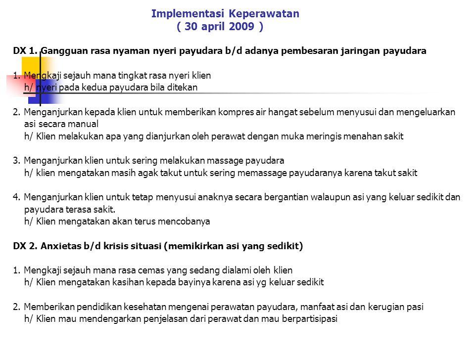 Implementasi Keperawatan ( 30 april 2009 )