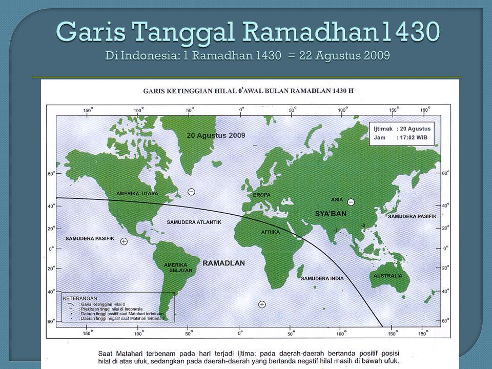 Garis Tanggal Ramadhan1430 Di Indonesia: 1 Ramadhan 1430 = 22 Agustus 2009