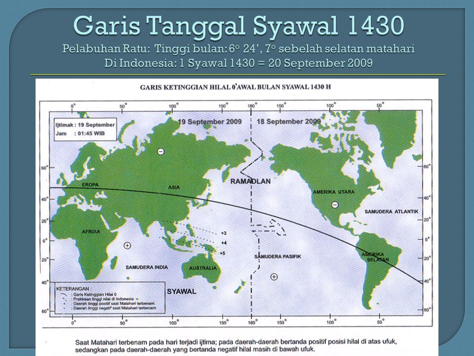 Garis Tanggal Syawal 1430 Pelabuhan Ratu: Tinggi bulan: 6o 24', 7o sebelah selatan matahari Di Indonesia: 1 Syawal 1430 = 20 September 2009