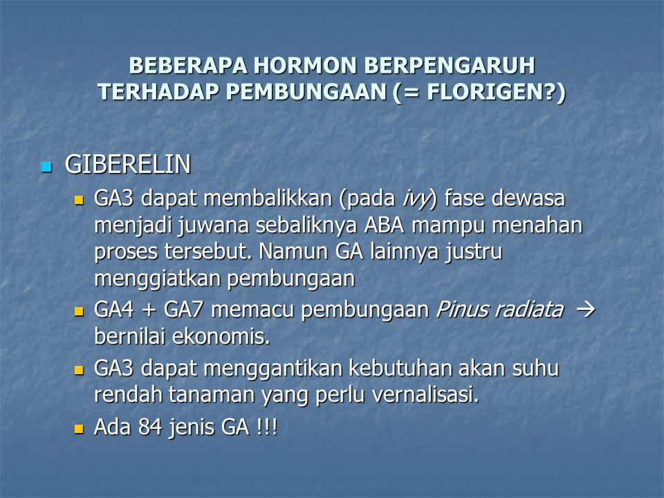 BEBERAPA HORMON BERPENGARUH TERHADAP PEMBUNGAAN (= FLORIGEN )