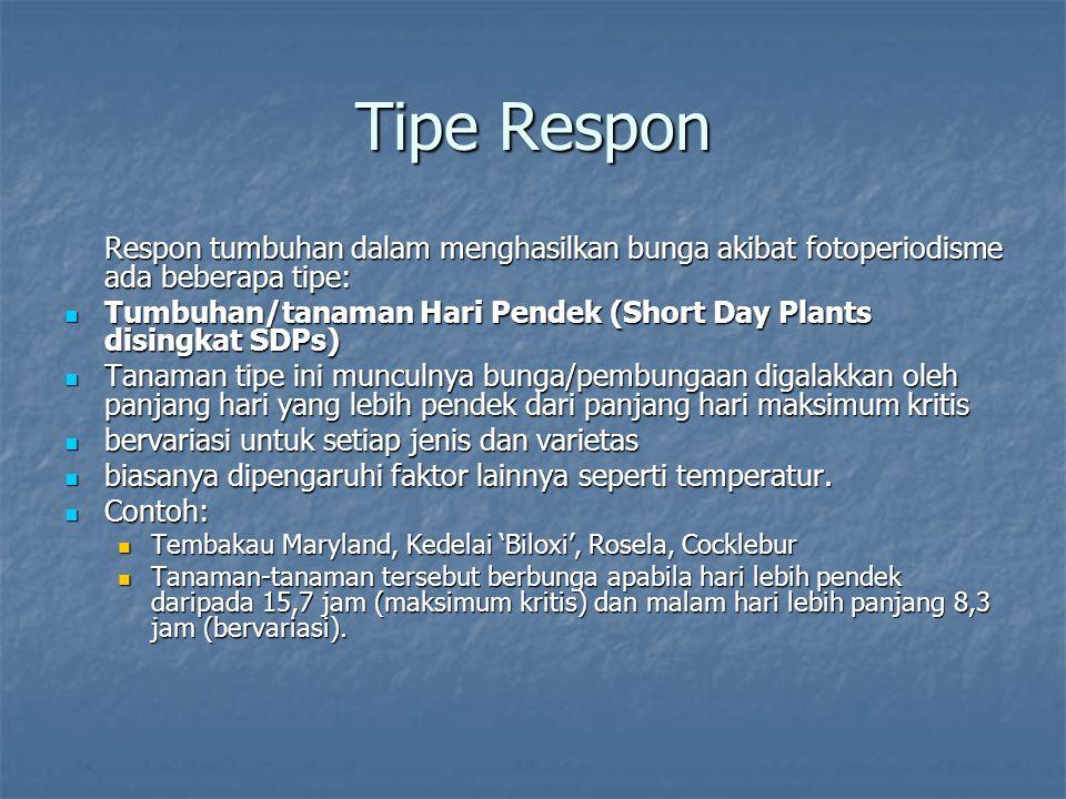 Tipe Respon Respon tumbuhan dalam menghasilkan bunga akibat fotoperiodisme ada beberapa tipe: