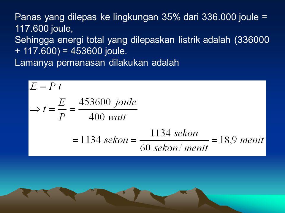 Panas yang dilepas ke lingkungan 35% dari 336. 000 joule = 117