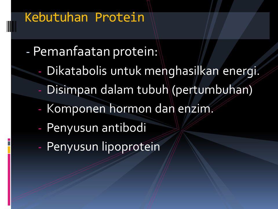 Kebutuhan Protein Pemanfaatan protein: