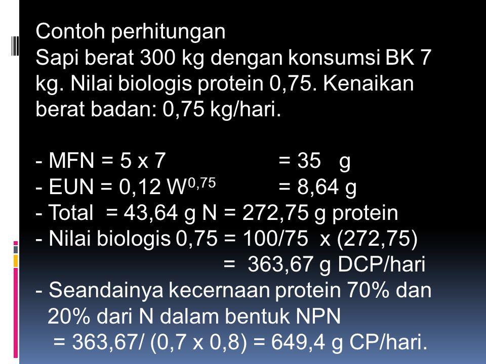 Seandainya kecernaan protein 70% dan 20% dari N dalam bentuk NPN