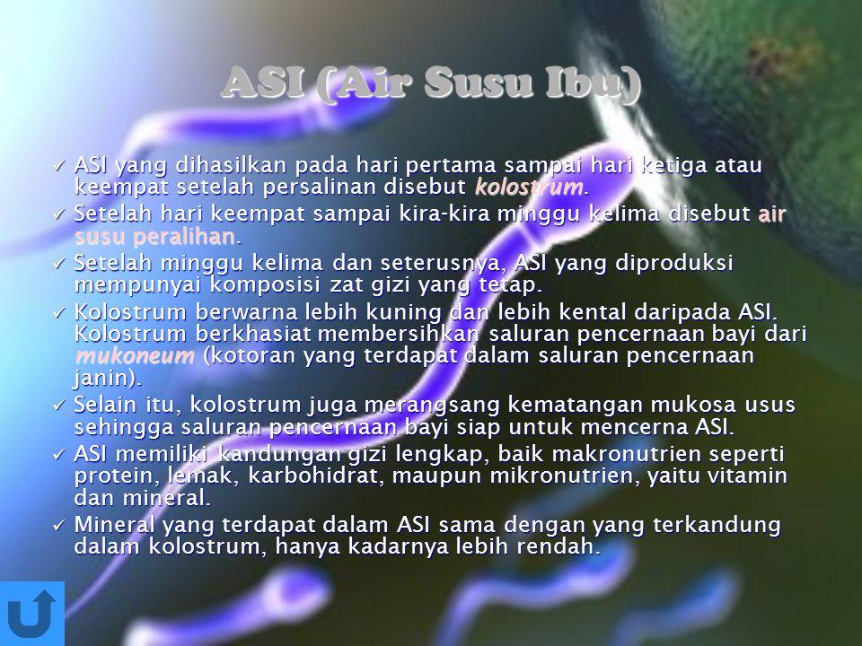 ASI (Air Susu Ibu) ASI yang dihasilkan pada hari pertama sampai hari ketiga atau keempat setelah persalinan disebut kolostrum.