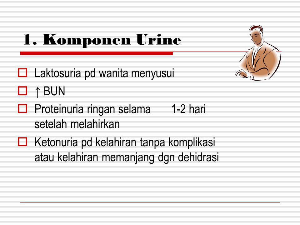 1. Komponen Urine Laktosuria pd wanita menyusui ↑ BUN