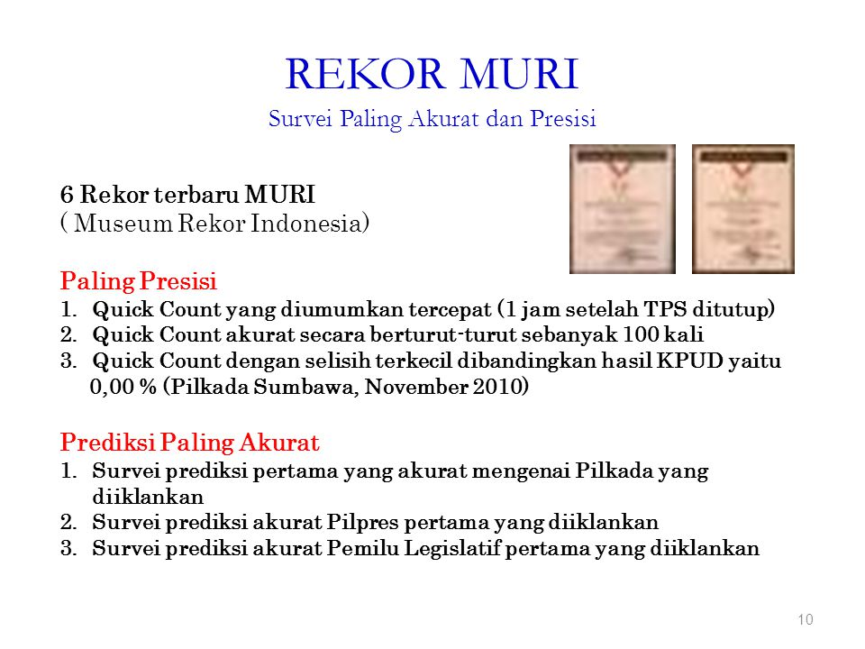 REKOR MURI Survei Paling Akurat dan Presisi