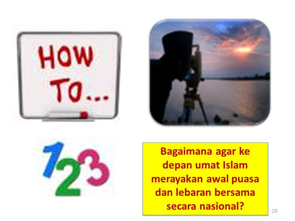 Bagaimana agar ke depan umat Islam merayakan awal puasa dan lebaran bersama secara nasional