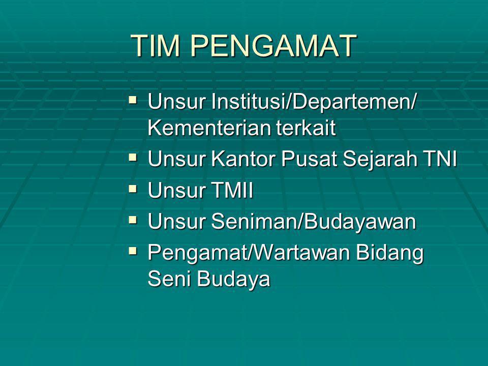 TIM PENGAMAT Unsur Institusi/Departemen/ Kementerian terkait