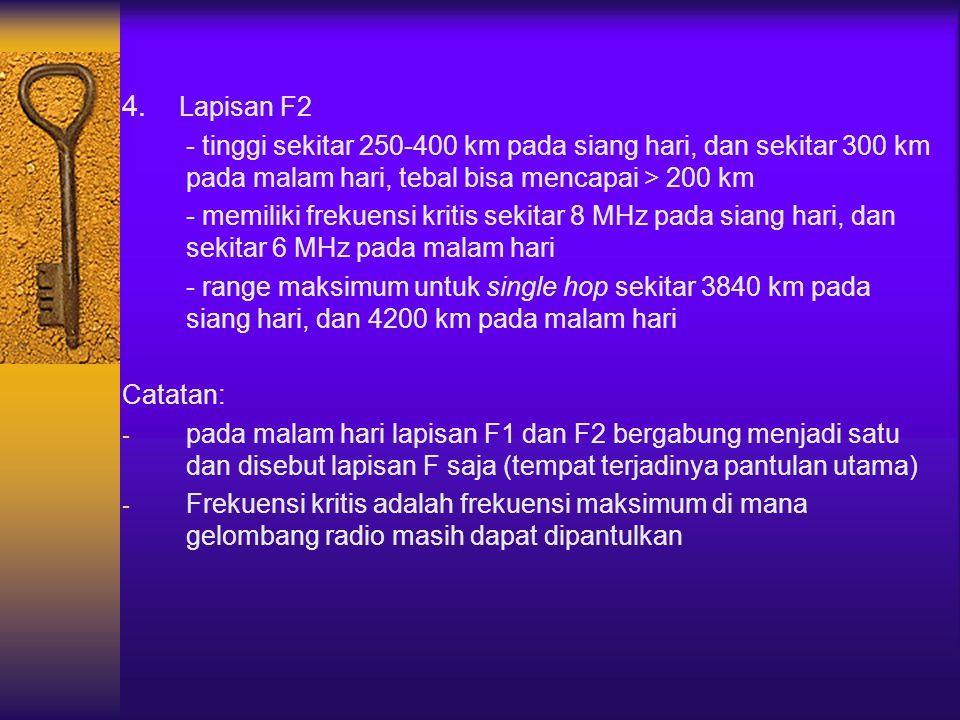 4. Lapisan F2 - tinggi sekitar 250-400 km pada siang hari, dan sekitar 300 km pada malam hari, tebal bisa mencapai > 200 km.