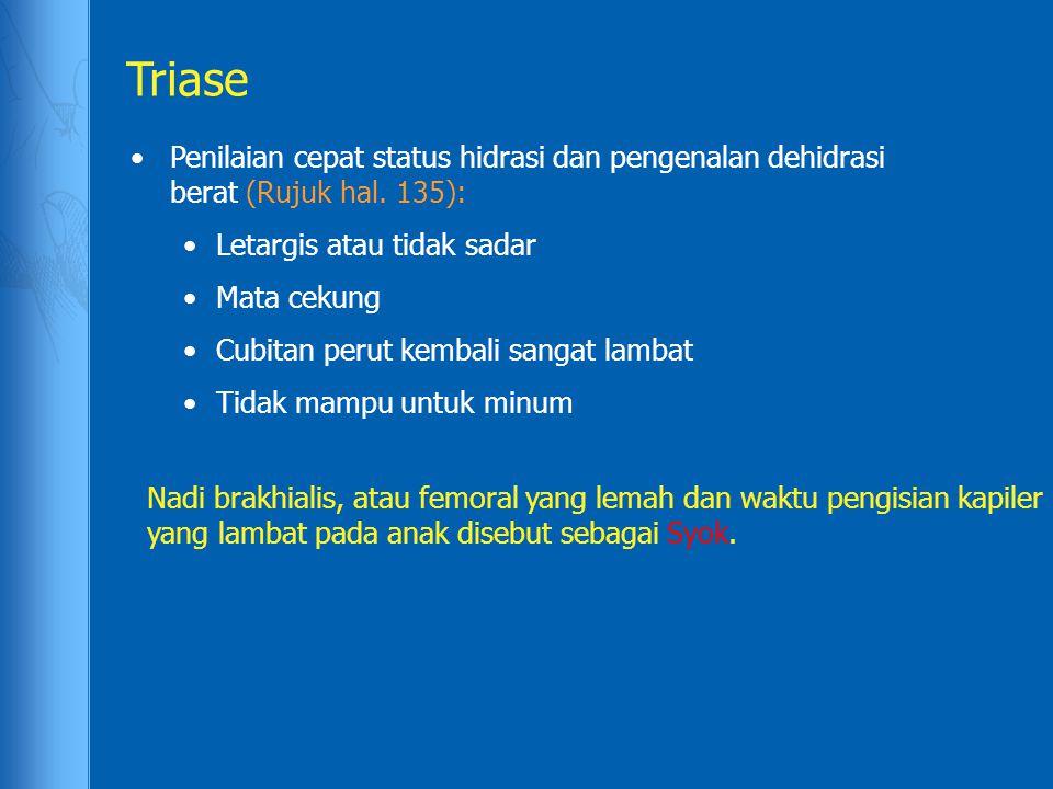 Triase Penilaian cepat status hidrasi dan pengenalan dehidrasi berat (Rujuk hal. 135): Letargis atau tidak sadar.