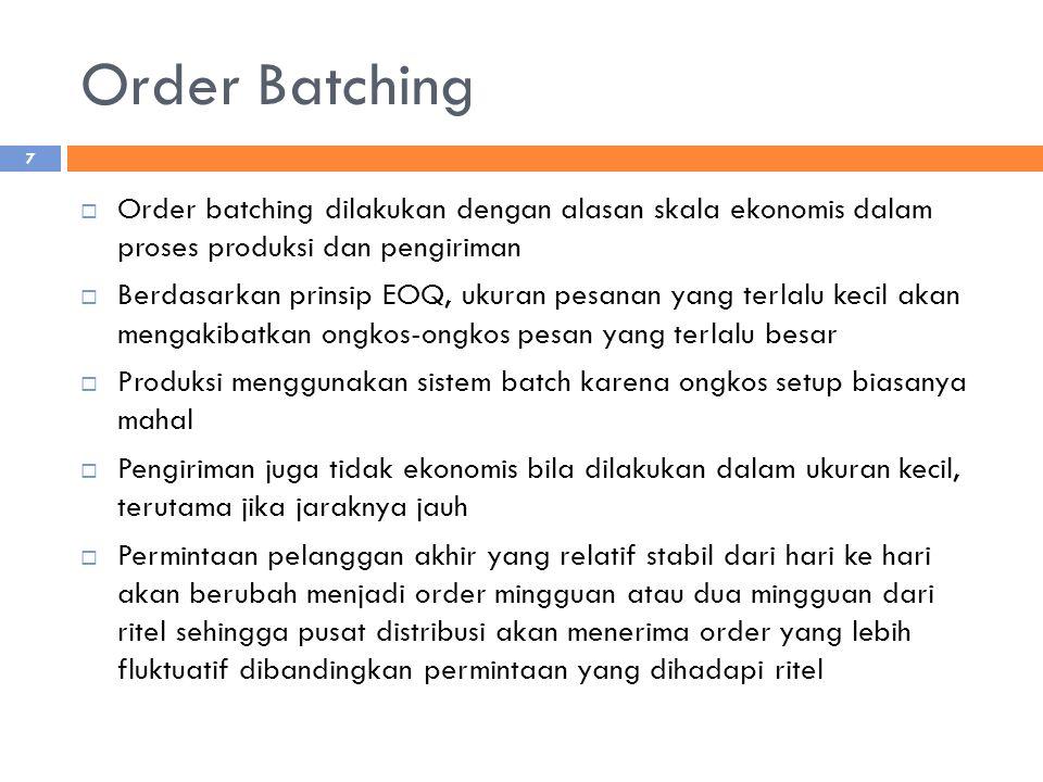 Order Batching Order batching dilakukan dengan alasan skala ekonomis dalam proses produksi dan pengiriman.