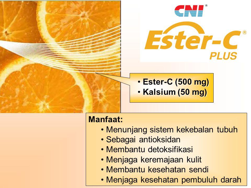 Ester-C (500 mg) Kalsium (50 mg) Manfaat: Menunjang sistem kekebalan tubuh. Sebagai antioksidan.
