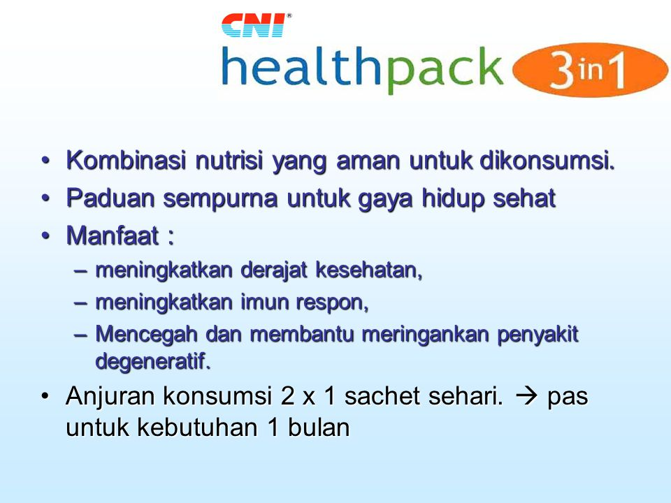 Kombinasi nutrisi yang aman untuk dikonsumsi.