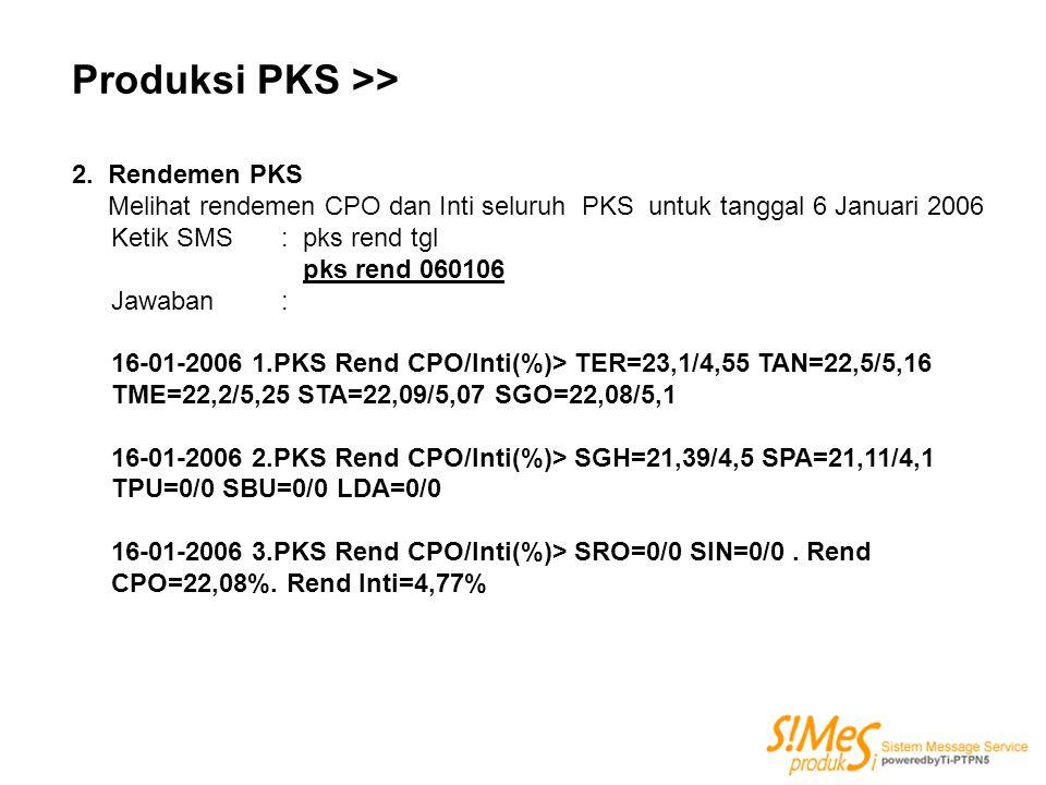 Produksi PKS >> 2. Rendemen PKS