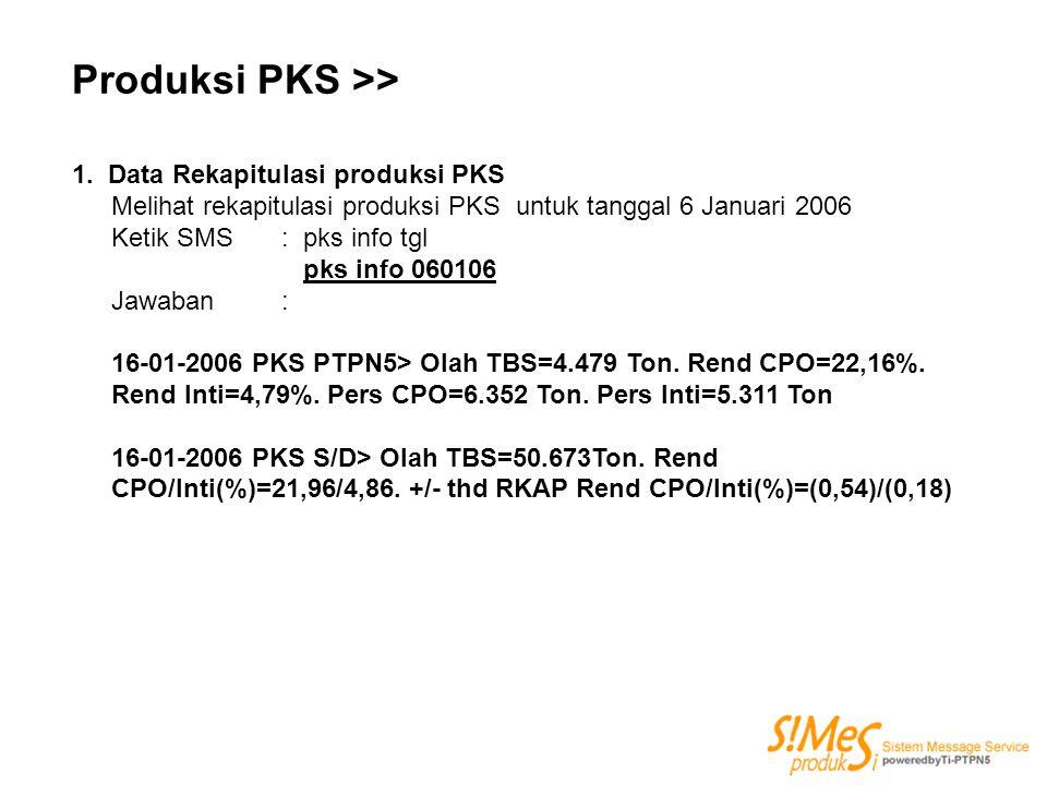 Produksi PKS >> 1. Data Rekapitulasi produksi PKS