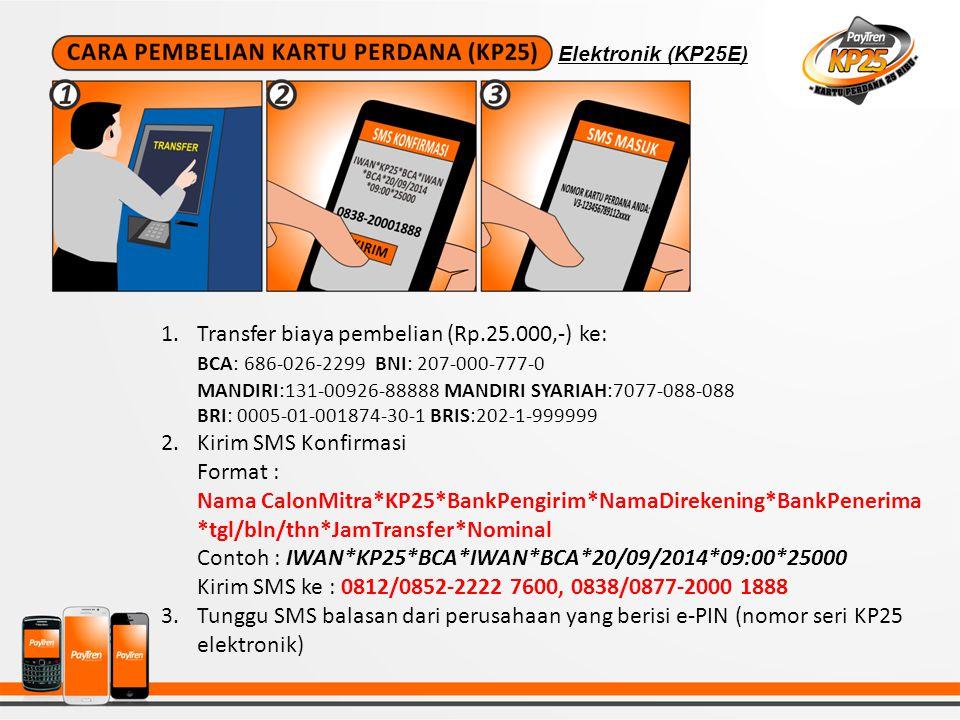 Transfer biaya pembelian (Rp.25.000,-) ke: