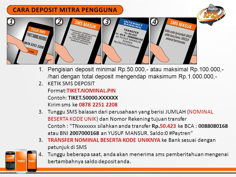 Pengisian deposit minimal Rp. 50. 000,- atau maksimal Rp. 100