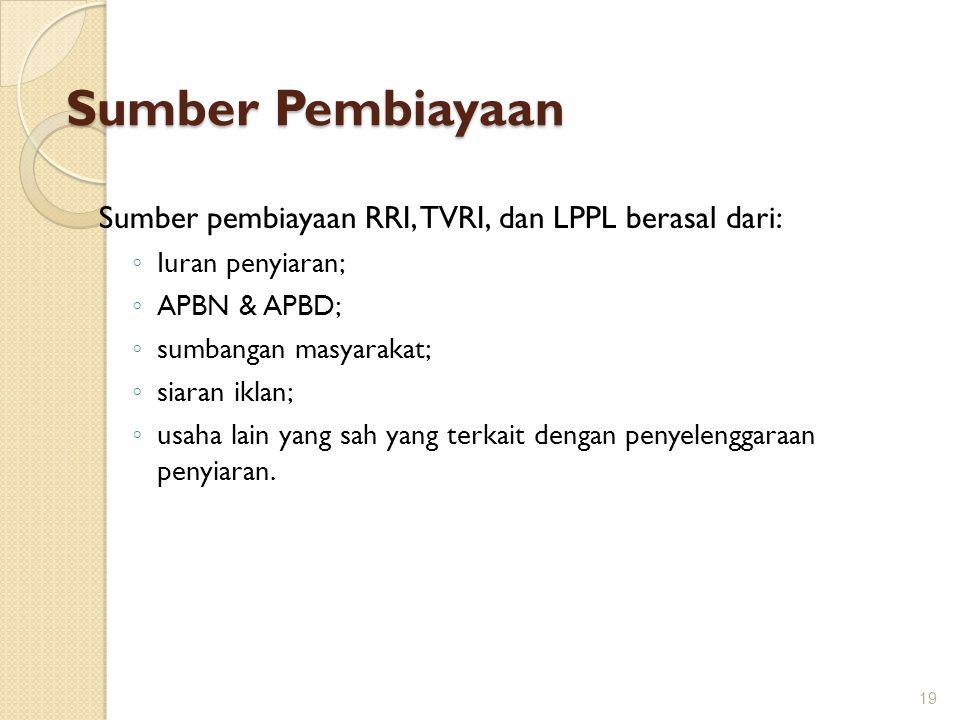 Sumber Pembiayaan Sumber pembiayaan RRI, TVRI, dan LPPL berasal dari: