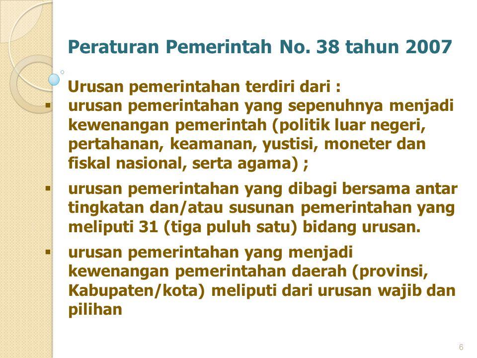 Peraturan Pemerintah No. 38 tahun 2007