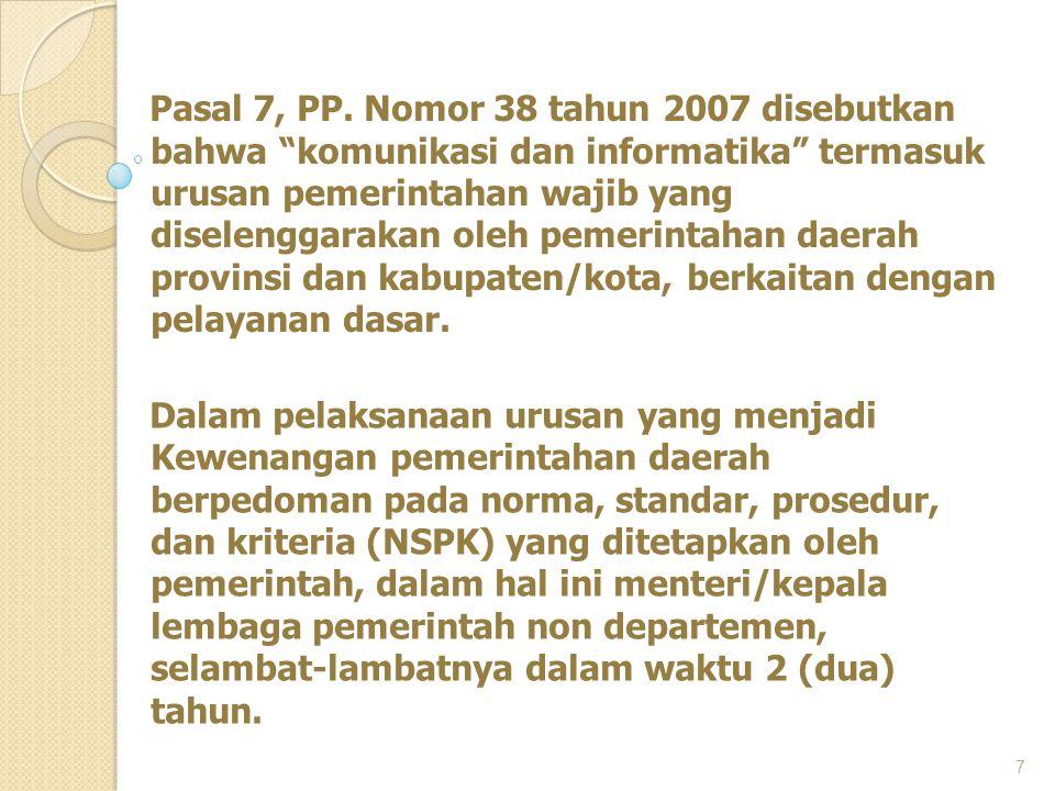 Pasal 7, PP. Nomor 38 tahun 2007 disebutkan bahwa komunikasi dan informatika termasuk urusan pemerintahan wajib yang diselenggarakan oleh pemerintahan daerah provinsi dan kabupaten/kota, berkaitan dengan pelayanan dasar.