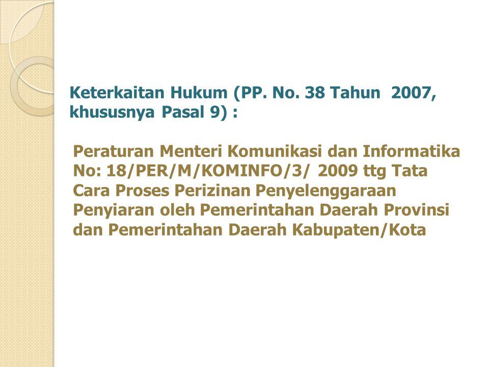 Keterkaitan Hukum (PP. No. 38 Tahun 2007,