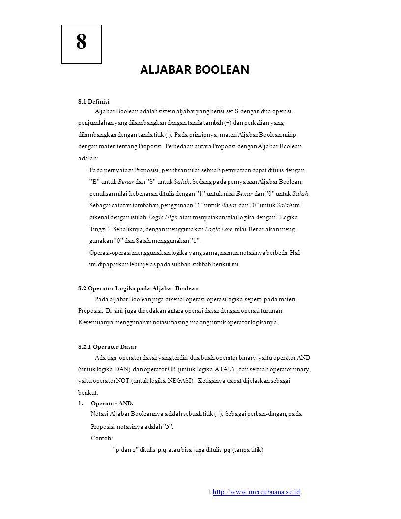 8 ALJABAR BOOLEAN 8.1 Definisi