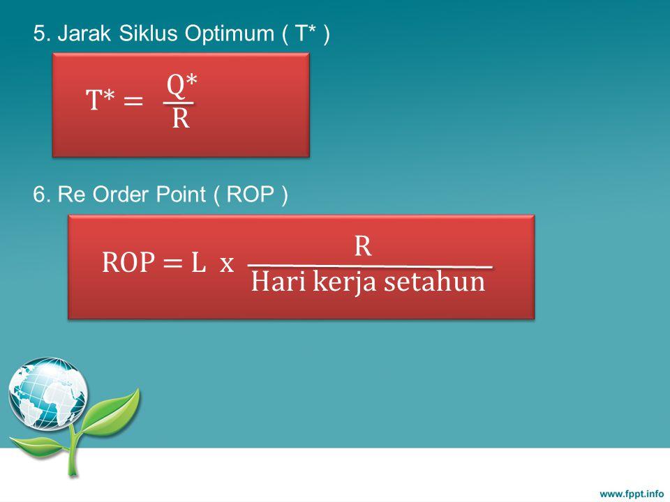 Q* T* = R R ROP = L x Hari kerja setahun