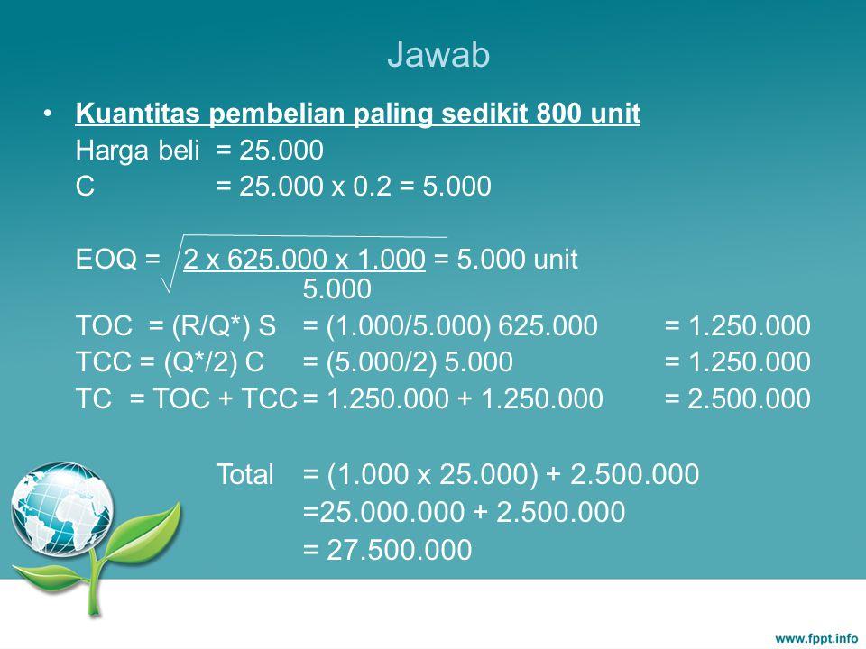 Jawab Kuantitas pembelian paling sedikit 800 unit. Harga beli = 25.000. C = 25.000 x 0.2 = 5.000.