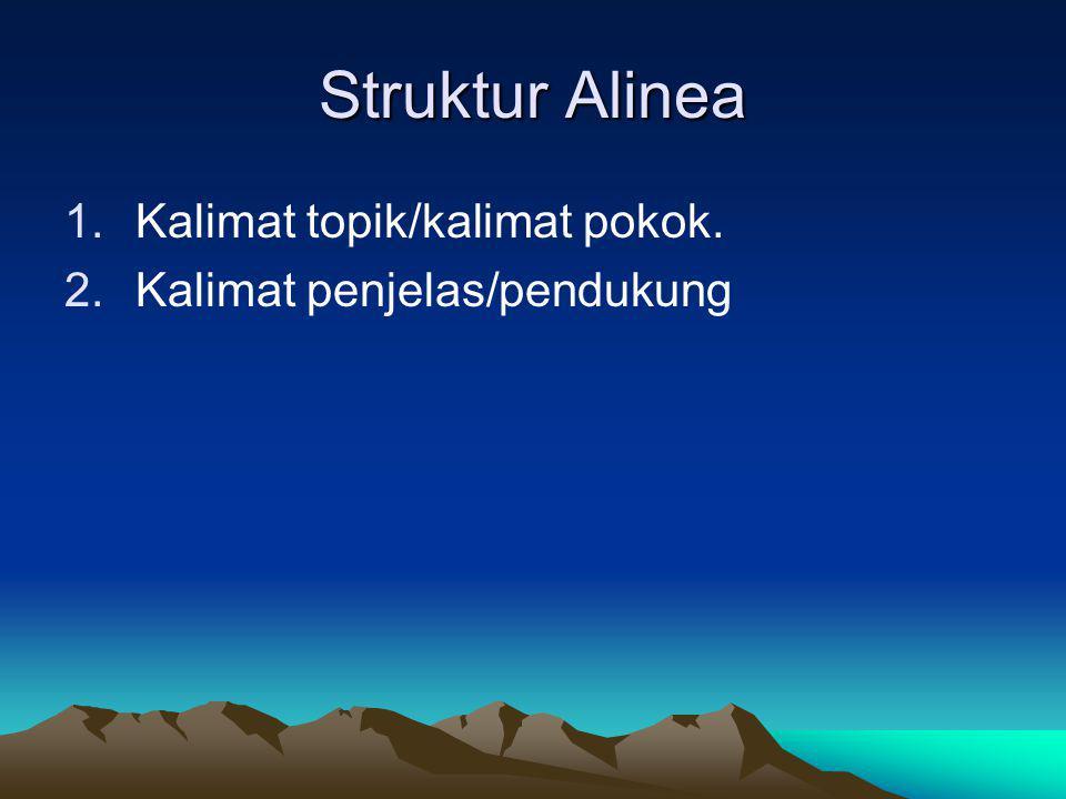 Struktur Alinea Kalimat topik/kalimat pokok.