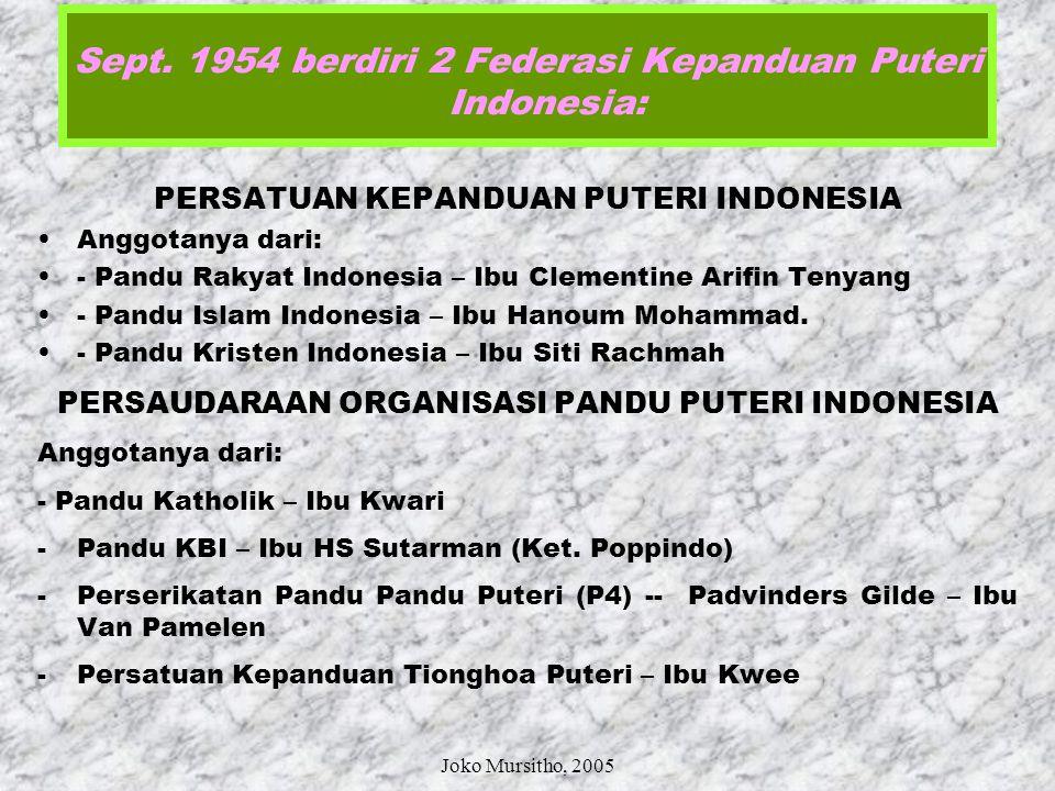 Sept. 1954 berdiri 2 Federasi Kepanduan Puteri Indonesia: