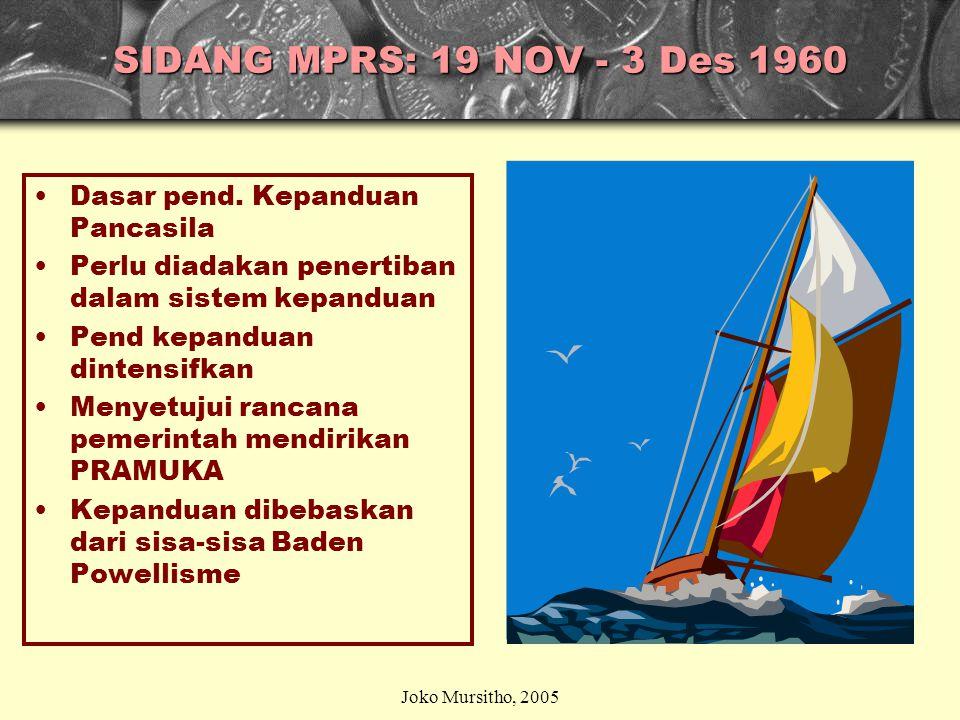 SIDANG MPRS: 19 NOV - 3 Des 1960 Dasar pend. Kepanduan Pancasila