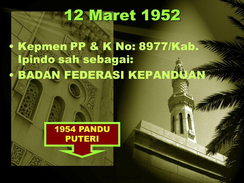 12 Maret 1952 Kepmen PP & K No: 8977/Kab. Ipindo sah sebagai: