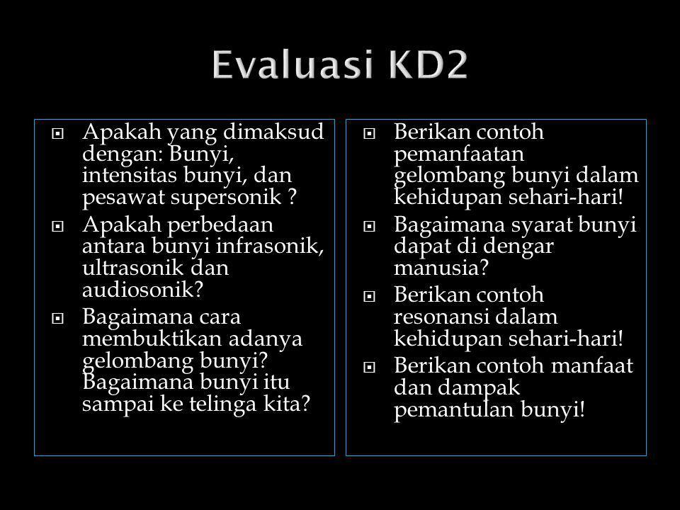 Evaluasi KD2 Apakah yang dimaksud dengan: Bunyi, intensitas bunyi, dan pesawat supersonik