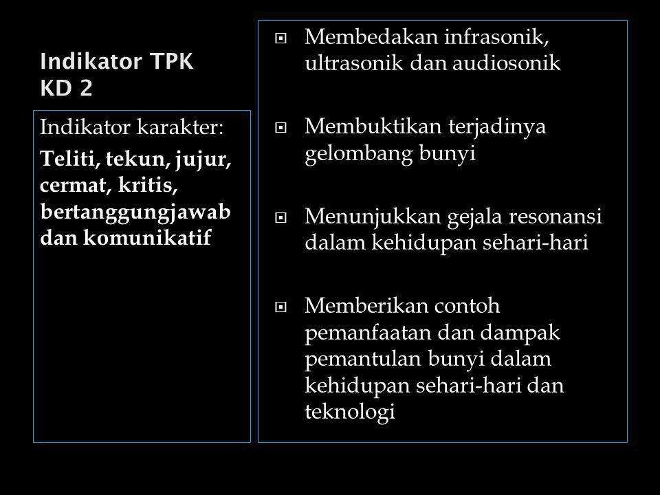 Indikator TPK KD 2 Membedakan infrasonik, ultrasonik dan audiosonik. Membuktikan terjadinya gelombang bunyi.