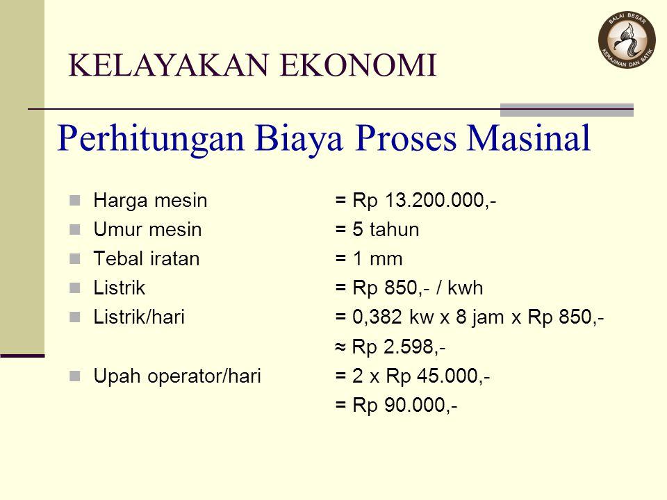 Perhitungan Biaya Proses Masinal