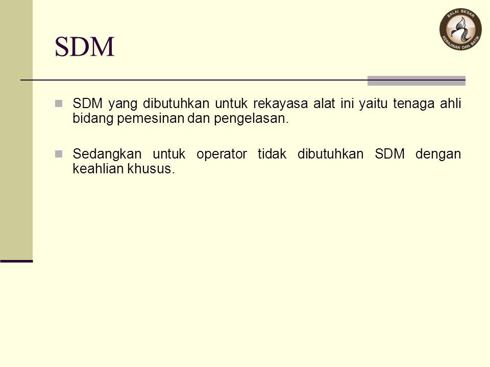 SDM SDM yang dibutuhkan untuk rekayasa alat ini yaitu tenaga ahli bidang pemesinan dan pengelasan.