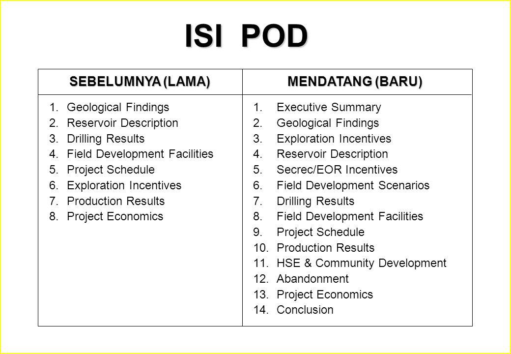 ISI POD SEBELUMNYA (LAMA) MENDATANG (BARU) Geological Findings