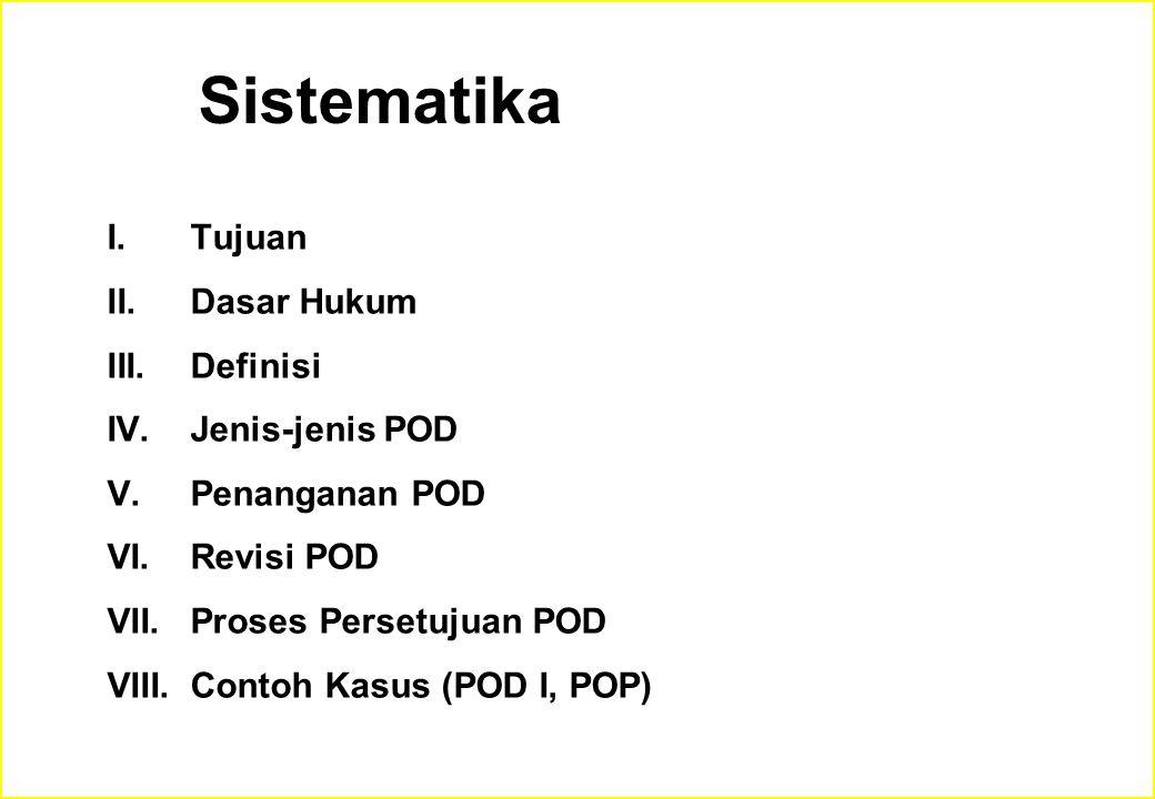 Sistematika Tujuan Dasar Hukum Definisi Jenis-jenis POD Penanganan POD