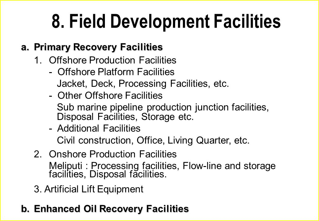 8. Field Development Facilities