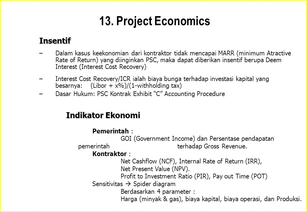13. Project Economics Insentif Indikator Ekonomi