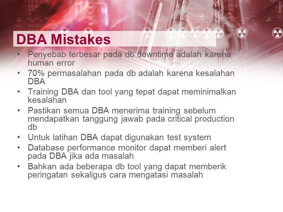 DBA Mistakes Penyebab terbesar pada db downtime adalah karena human error. 70% permasalahan pada db adalah karena kesalahan DBA.