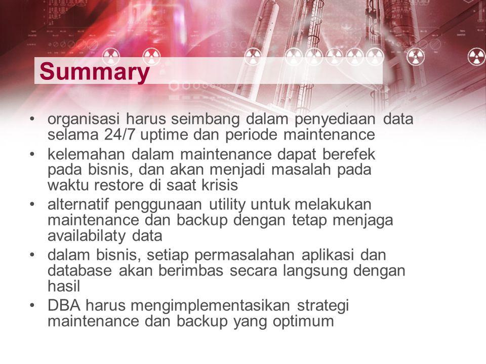 Summary organisasi harus seimbang dalam penyediaan data selama 24/7 uptime dan periode maintenance.