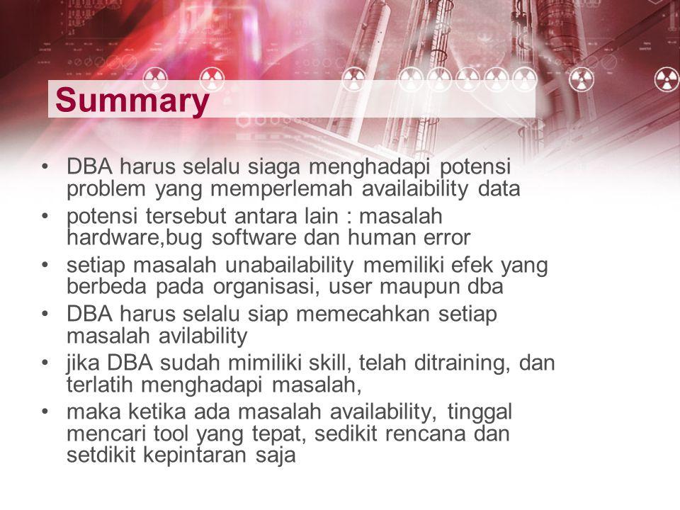 Summary DBA harus selalu siaga menghadapi potensi problem yang memperlemah availaibility data.