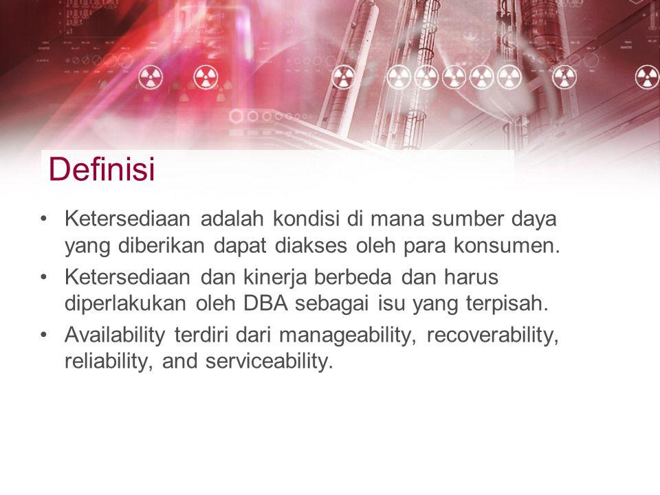 Definisi Ketersediaan adalah kondisi di mana sumber daya yang diberikan dapat diakses oleh para konsumen.