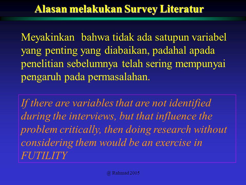 Alasan melakukan Survey Literatur